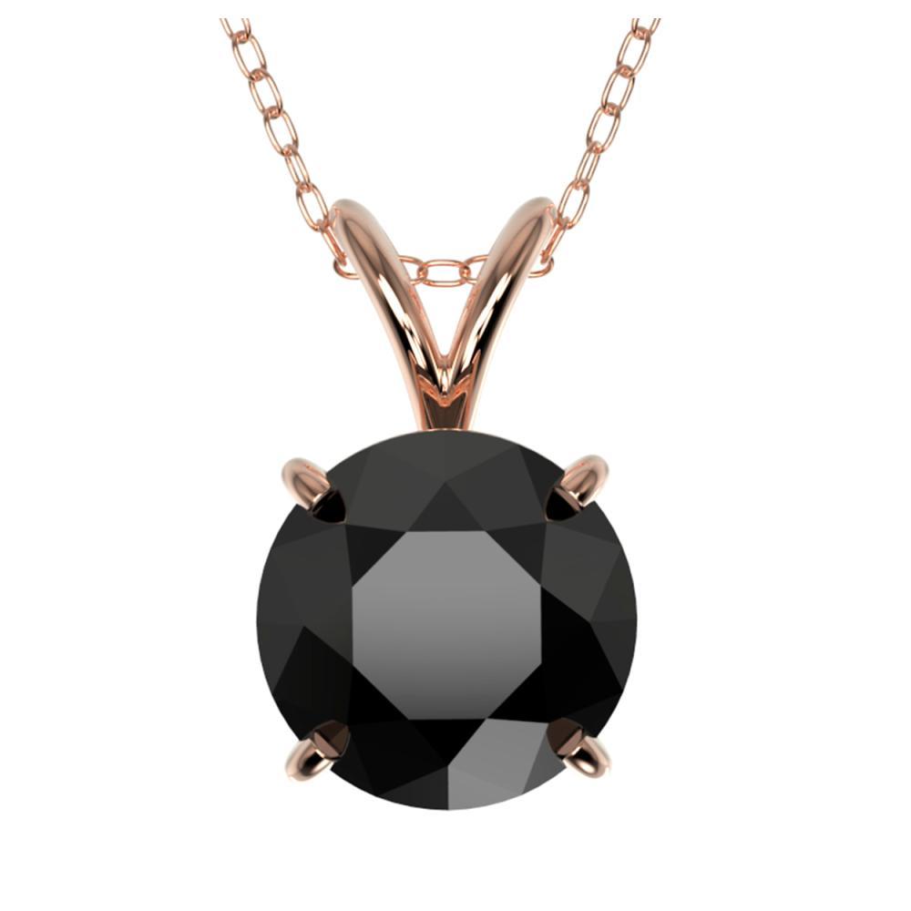 1.59 ctw Fancy Black Diamond Solitaire Necklace 10K Rose Gold - REF-43M5F - SKU:36800