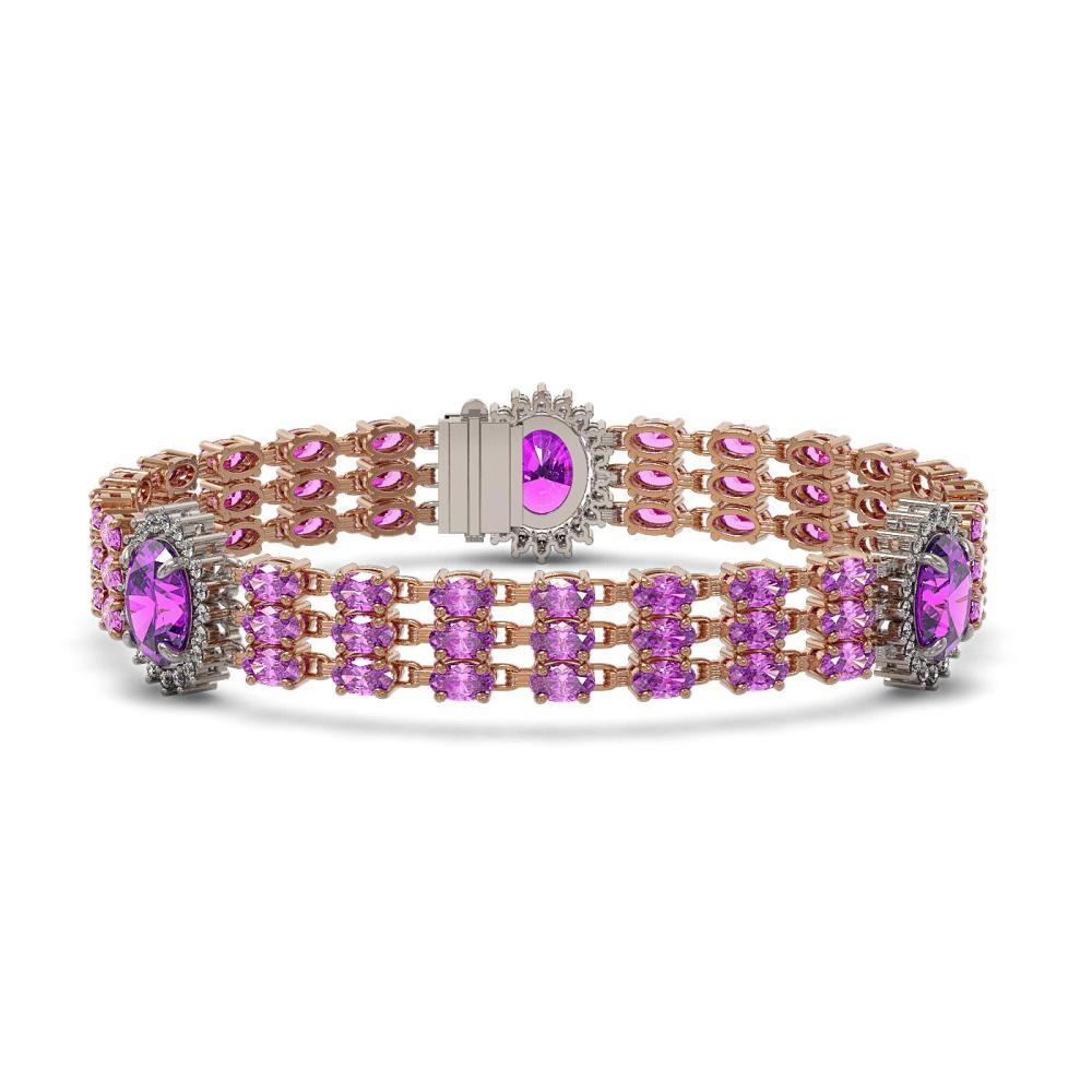 24.46 ctw Amethyst & Diamond Bracelet 14K Rose Gold - REF-223A2V - SKU:45291