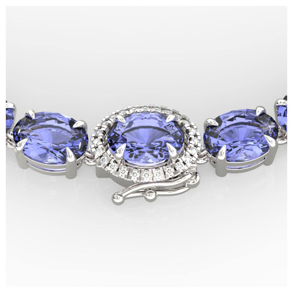 45.25 ctw Tanzanite & Diamond Eternity Necklace 14K White Gold - REF-436F4N - SKU:40283