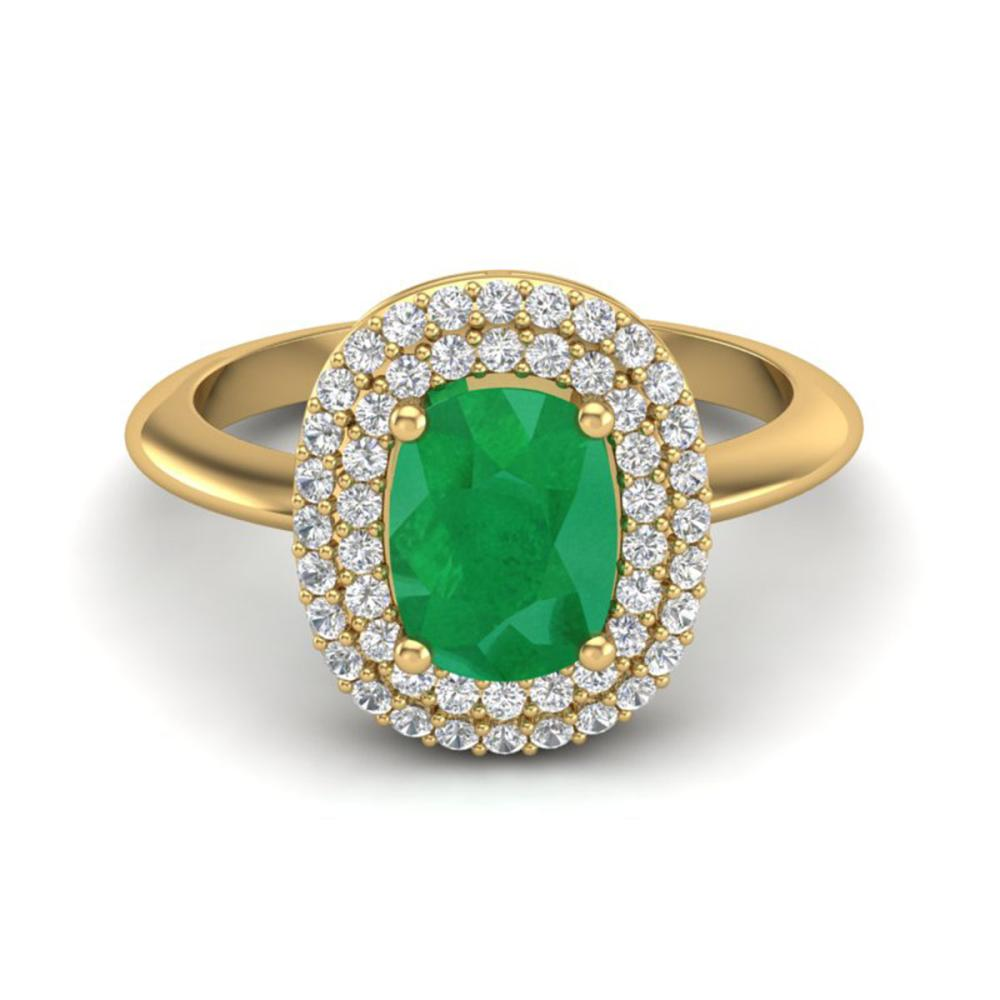 2.50 ctw Emerald With VS/SI Diamond Ring Halo 14K Yellow Gold - REF-70V9Y - SKU:20743