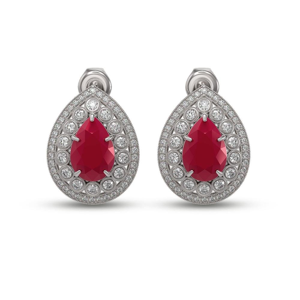 9.74 ctw Ruby & Diamond Earrings 14K White Gold - REF-254V4Y - SKU:43175