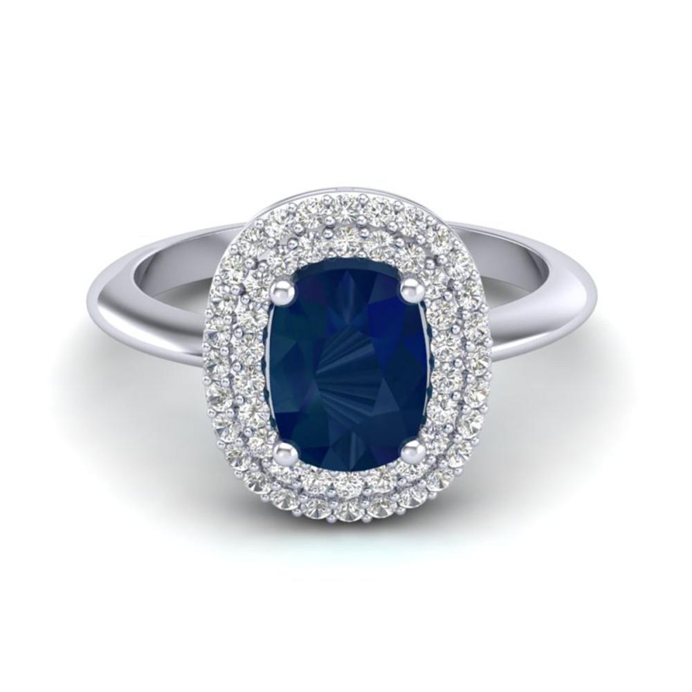 2.50 ctw Sapphire With VS/SI Diamond Ring Halo 14K White Gold - REF-77W3H - SKU:20751