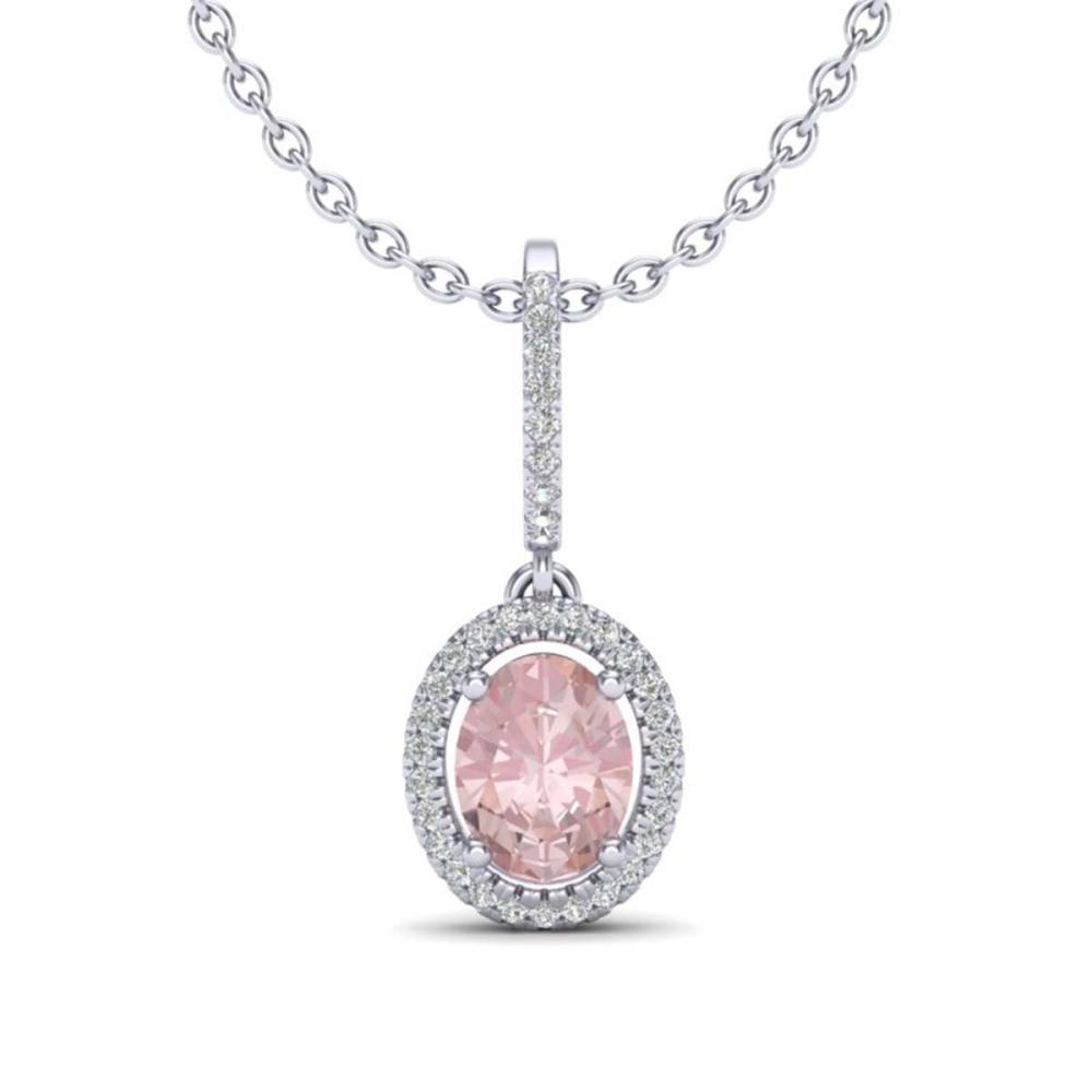 1.60 ctw Morganite & VS/SI Diamond Necklace Halo 18K White Gold - REF-73N3A - SKU:20664