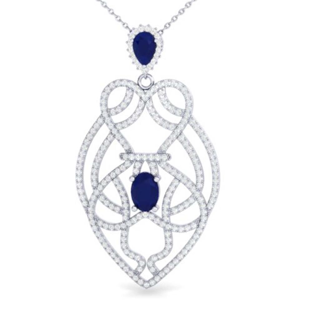 3.50 ctw Sapphire & VS/SI Diamond Heart Necklace 14K White Gold - REF-180V2Y - SKU:21252