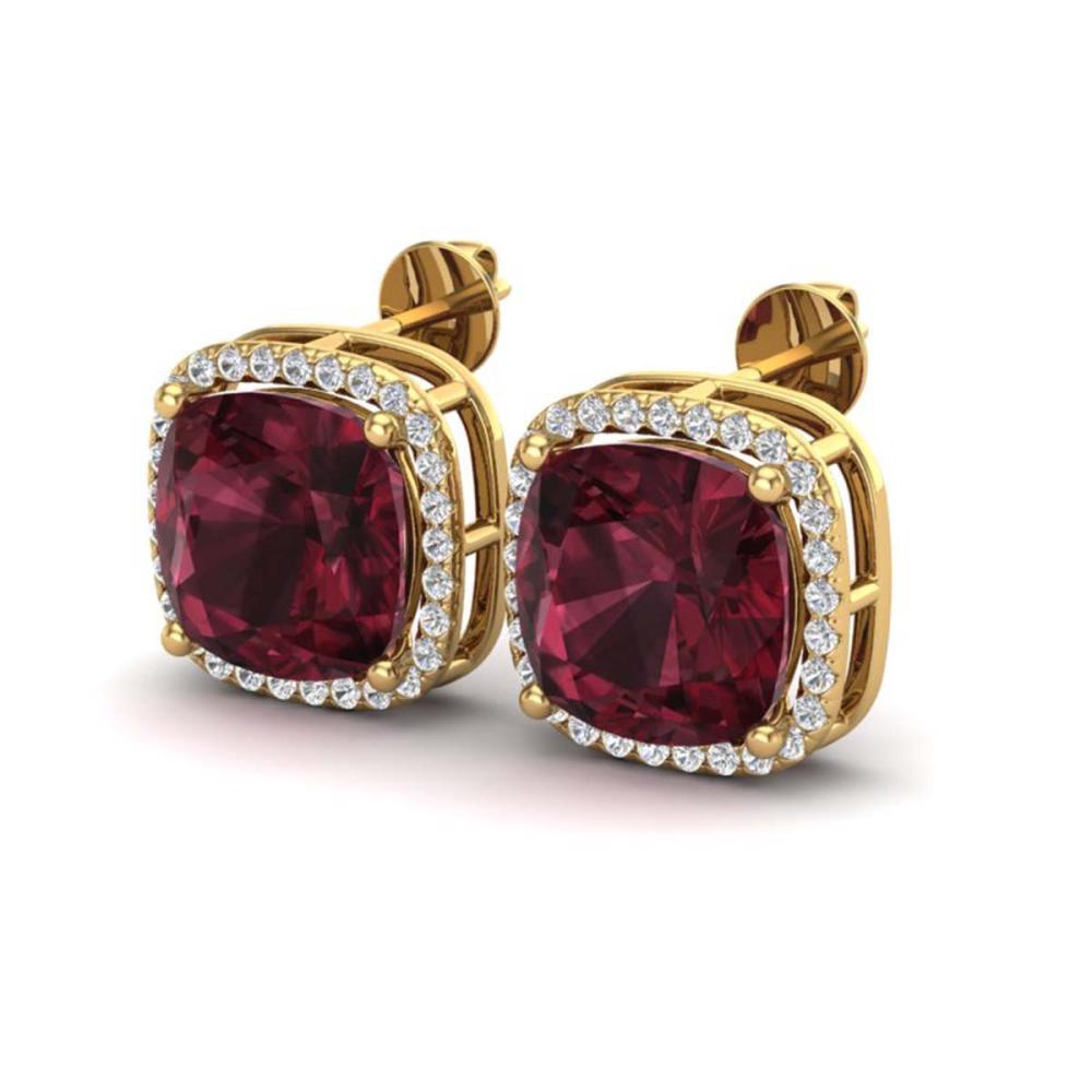12 ctw Garnet & Halo VS/SI Diamond Earrings 18K Yellow Gold - REF-88W2H - SKU:23065