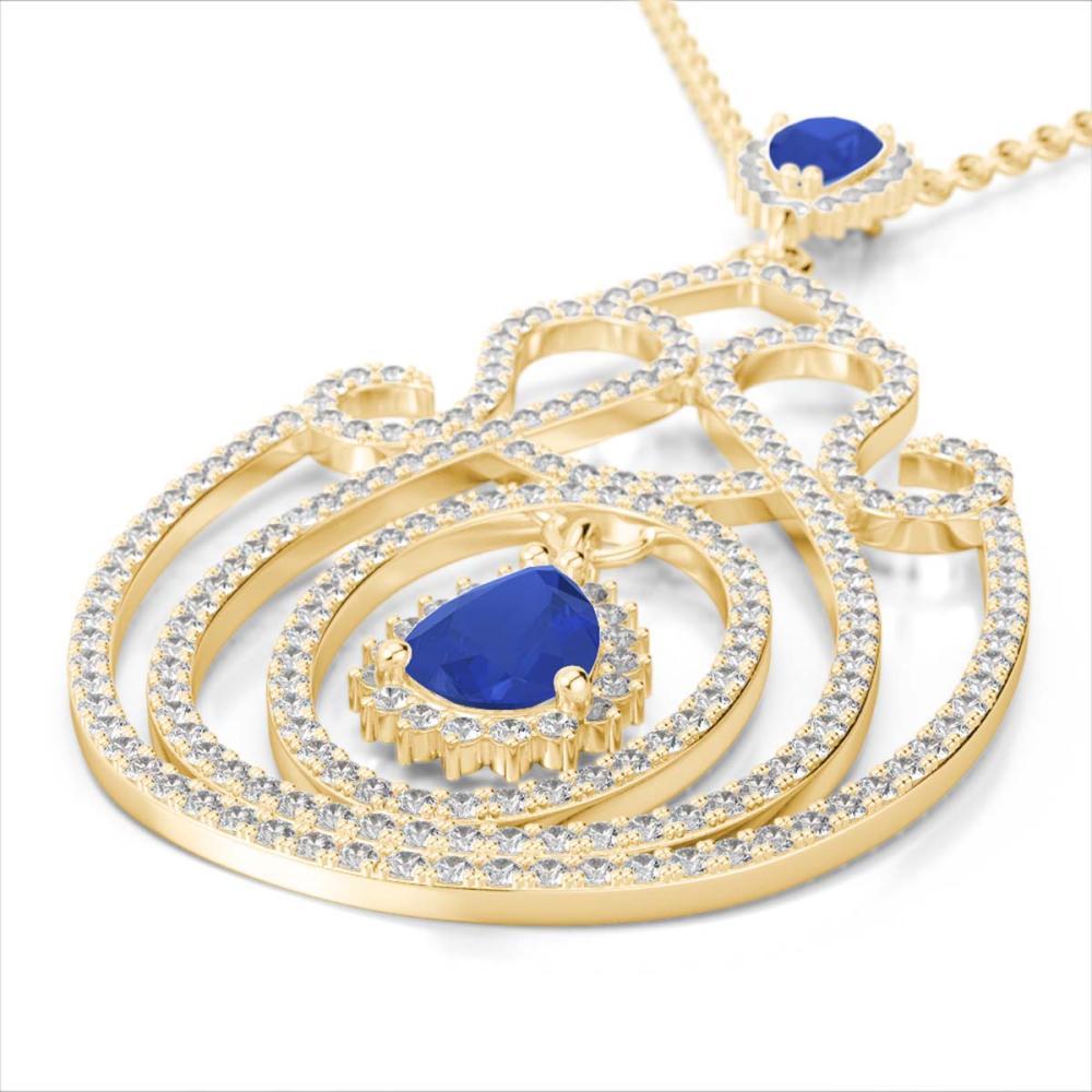 3.20 ctw Sapphire & Diamond Heart Necklace 14K Yellow Gold - REF-212V7Y - SKU:22442