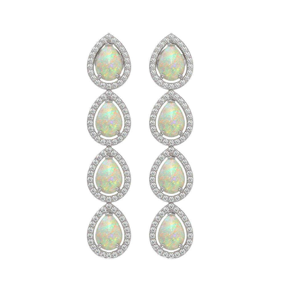 6.2 ctw Opal & Diamond Halo Earrings White 10K White Gold - REF-148K9W - SKU:41153