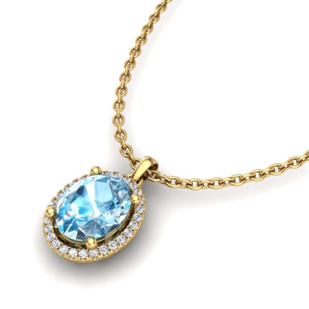 3 ctw Sky Blue Topaz & Diamond Necklace 18K Yellow Gold - REF-49K3W - SKU:21074