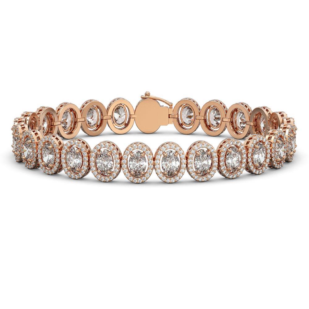 15.8 ctw Oval Diamond Bracelet 18K Rose Gold - REF-2129X2R - SKU:42762