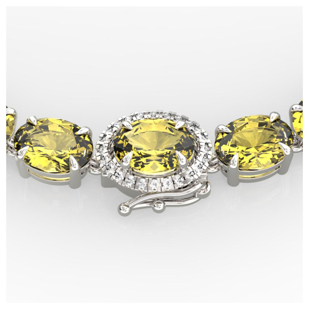 45.25 ctw Citrine & VS/SI Diamond Necklace 14K White Gold - REF-223K6W - SKU:40261