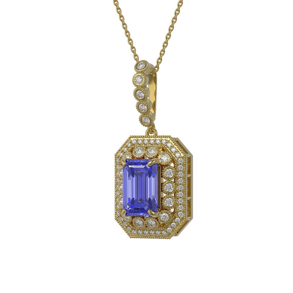 6.05 ctw Tanzanite & Diamond Necklace 14K Yellow Gold - REF-213V5Y - SKU:43447