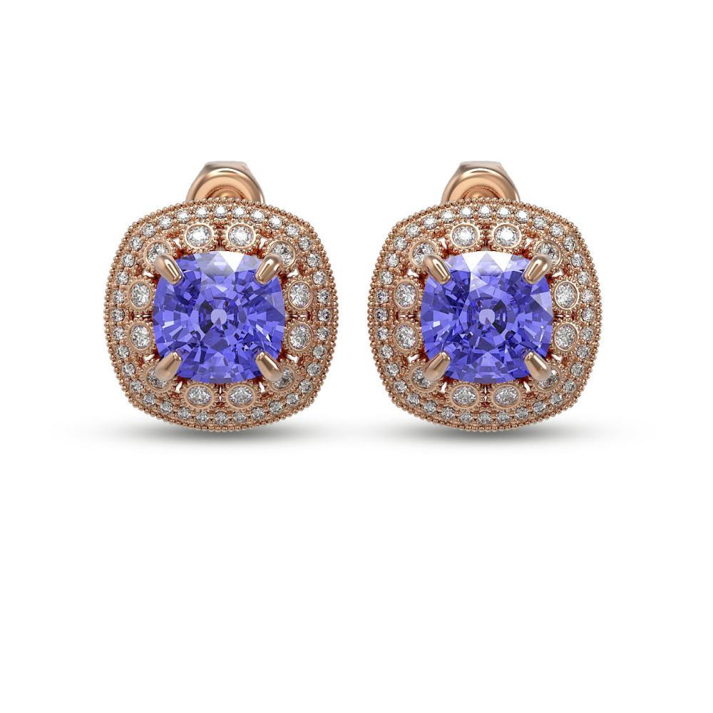 12.99 ctw Tanzanite & Diamond Earrings 14K Rose Gold - REF-391V6Y - SKU:43986