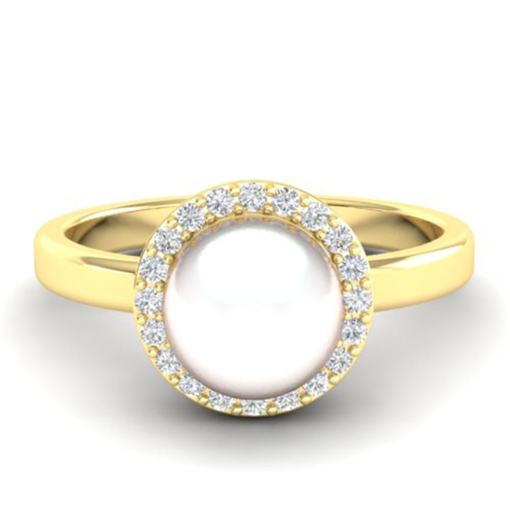 0.25 ctw VS/SI Diamond & Pearl Ring 18K Yellow Gold - REF-53X6R - SKU:21647