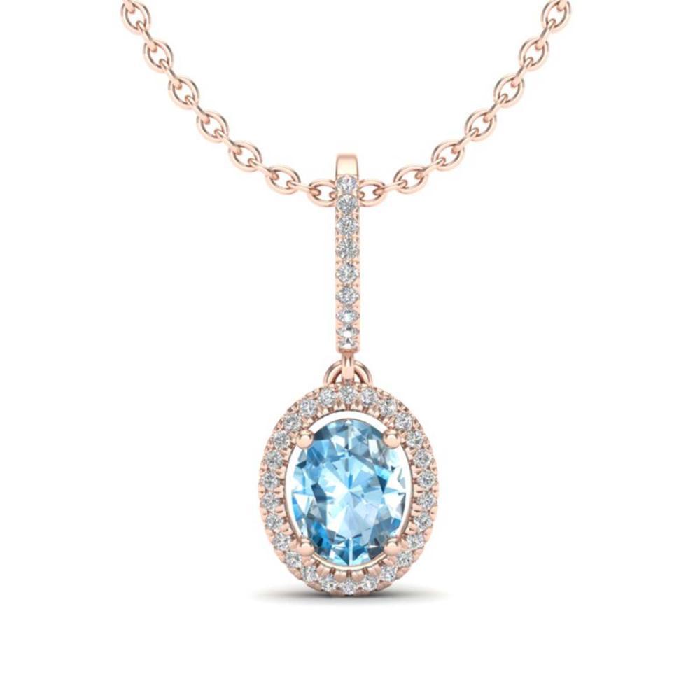 2 ctw Sky Blue Topaz & VS/SI Diamond Necklace 14K Rose Gold - REF-52F2N - SKU:20652