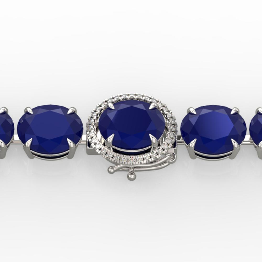 76 ctw Sapphire & Diamond Bracelet 14K White Gold - REF-317A3V - SKU:22277