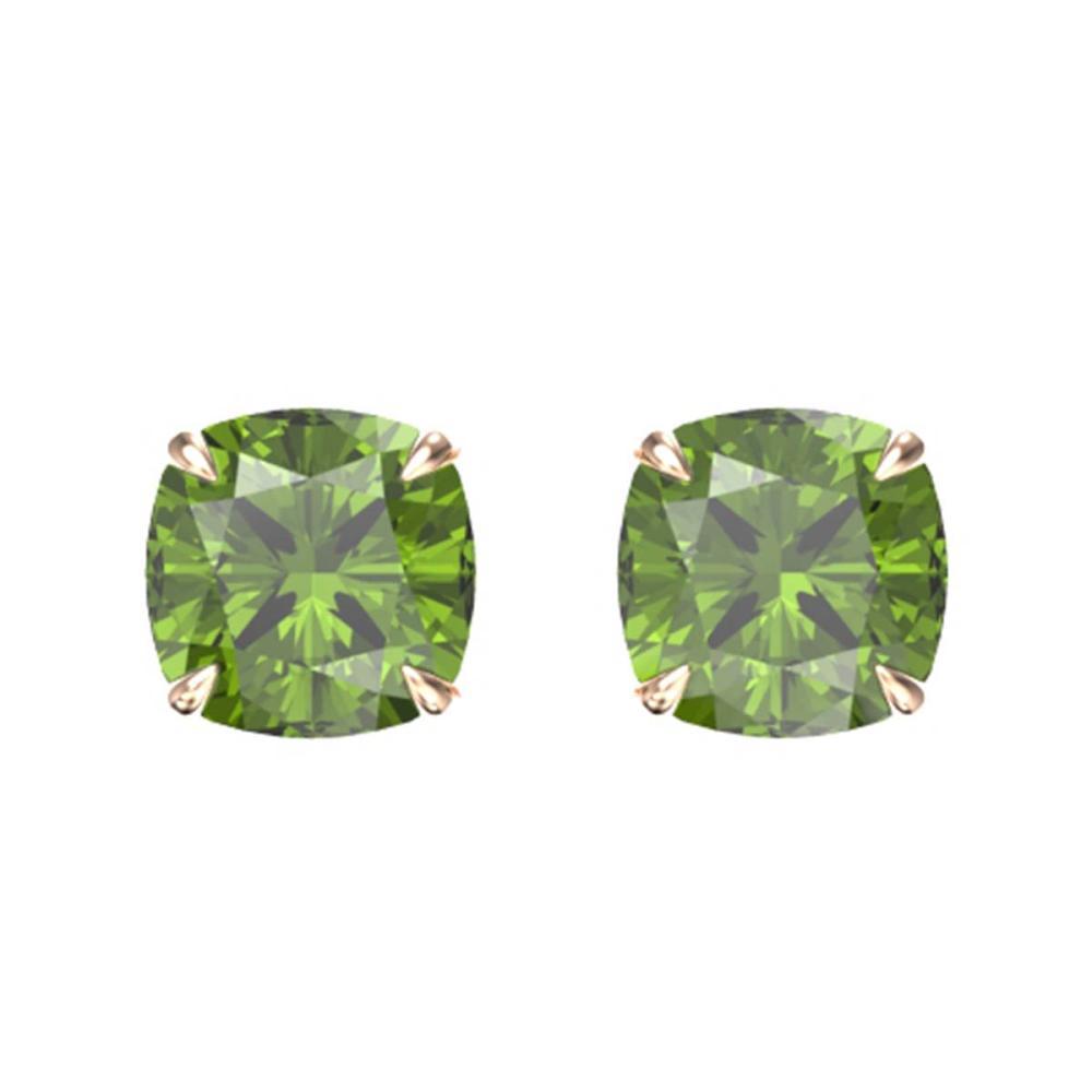 4 ctw Cushion Green Tourmaline Stud Earrings 14K Rose Gold - REF-43K5W - SKU:21745