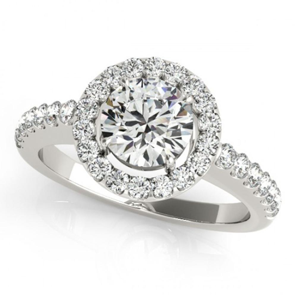 0.76 ctw VS/SI Diamond Halo Ring 14K White Gold - REF-82H5M - SKU:24174