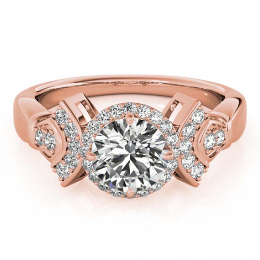 1.56 ctw VS/SI Diamond Solitaire Halo Ring 14K Rose Gold - REF-364H6M - SKU:24798