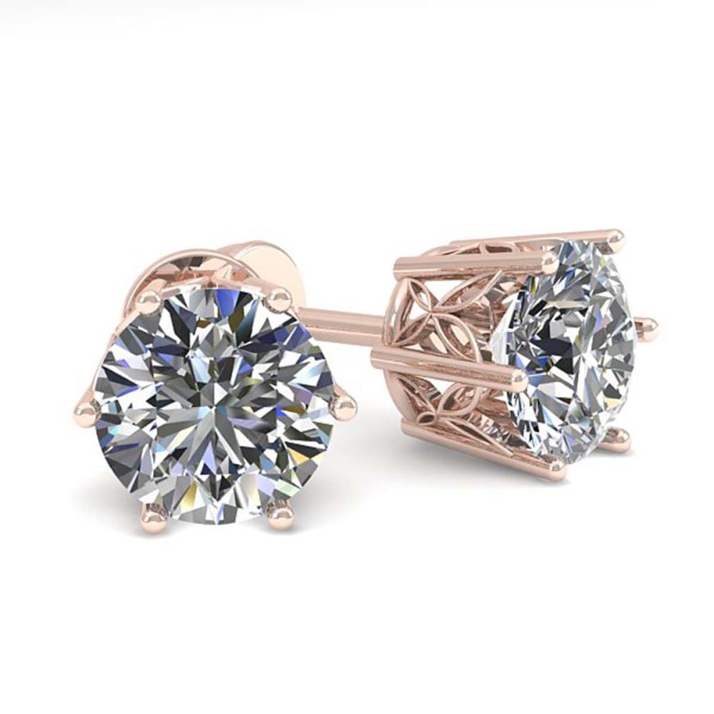 1.55 ctw VS/SI Diamond Stud Art Deco Earrings 14K Rose Gold - REF-247N3A - SKU:35588