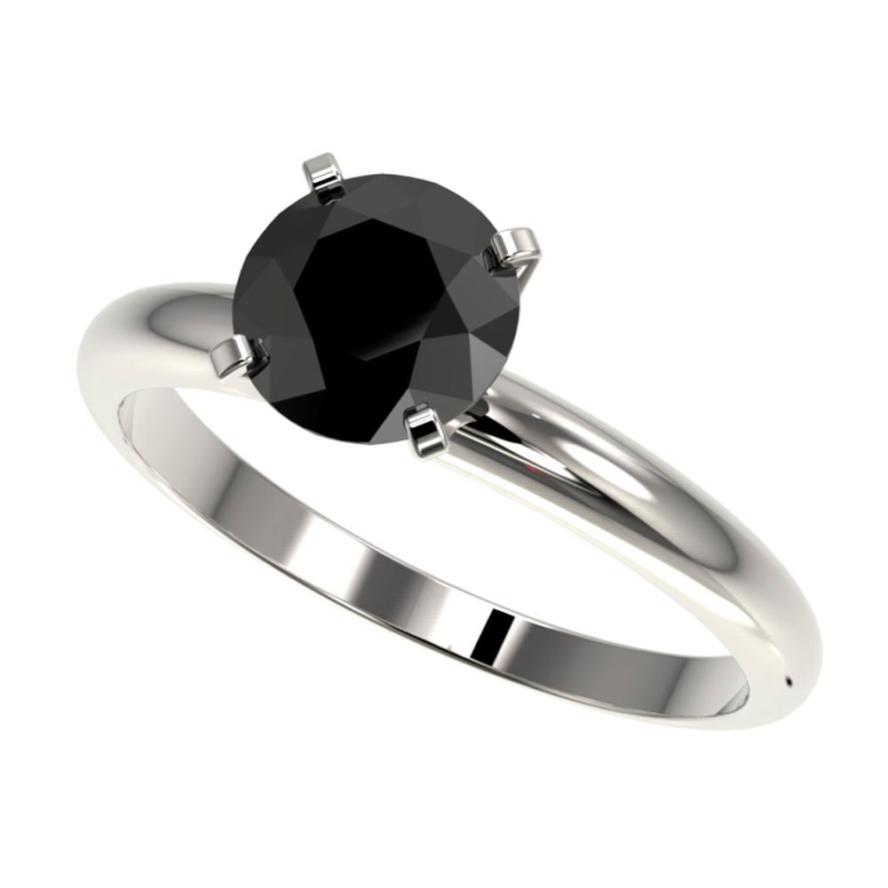 1.50 ctw Fancy Black Diamond Solitaire Ring 10K White Gold - REF-48M2F - SKU:32925