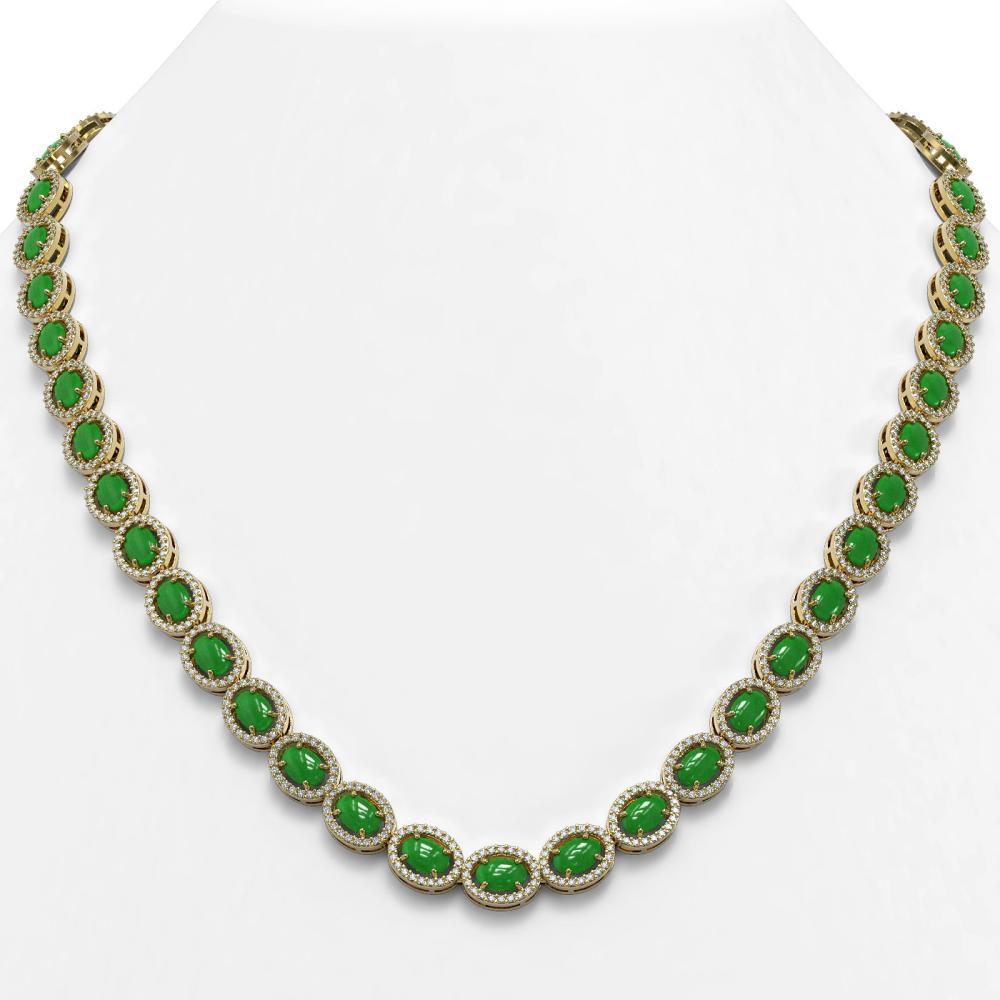 34.11 ctw Jade & Diamond Halo Necklace 10K Yellow Gold - REF-617A6V - SKU:45997