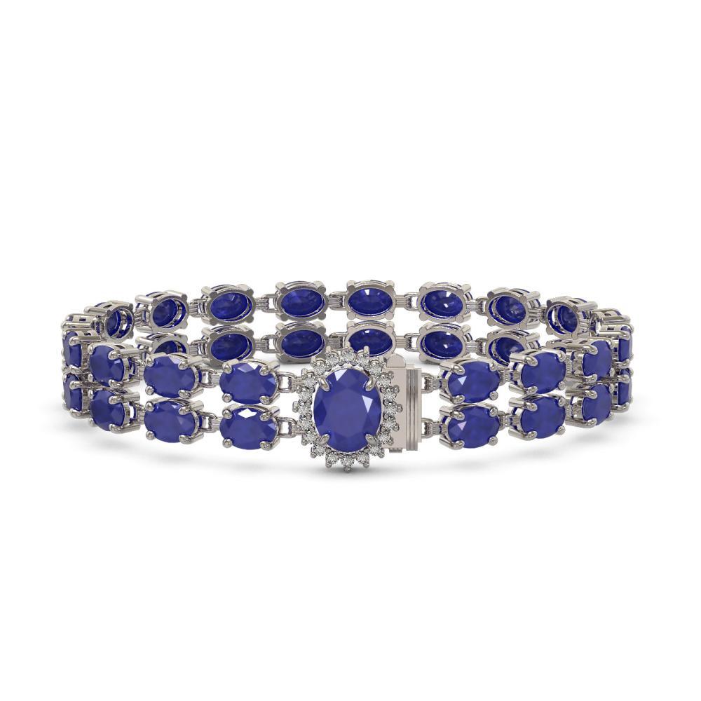 19.57 ctw Sapphire & Diamond Bracelet 14K White Gold - REF-145F2N - SKU:45428