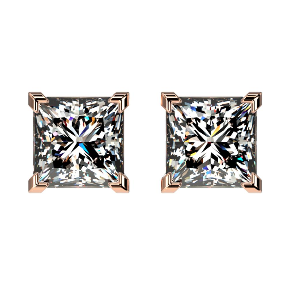 2 ctw VS/SI Princess Diamond Stud Earrings 10K Rose Gold - REF-585K2W - SKU:33095