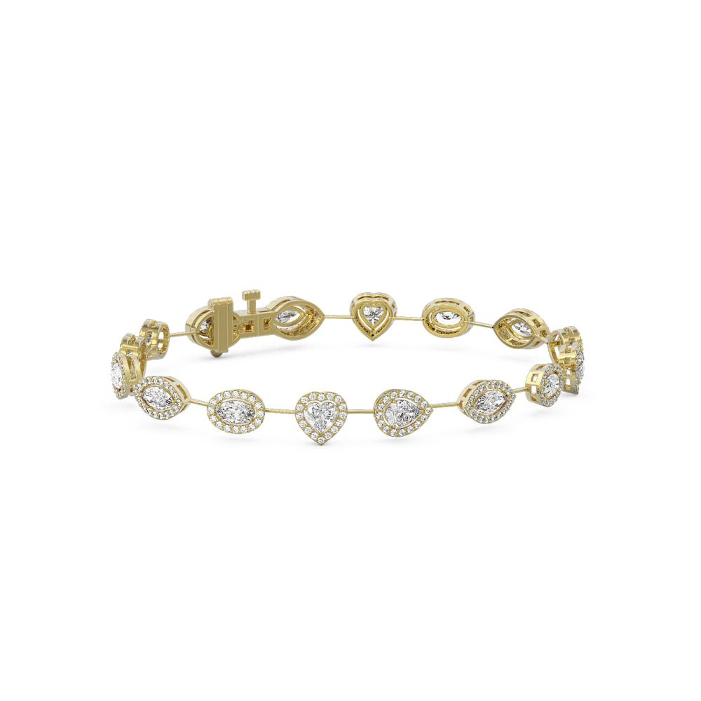 6.3 ctw Mix Cut Diamonds Designer Bracelet 18K Yellow Gold - REF-891R8K