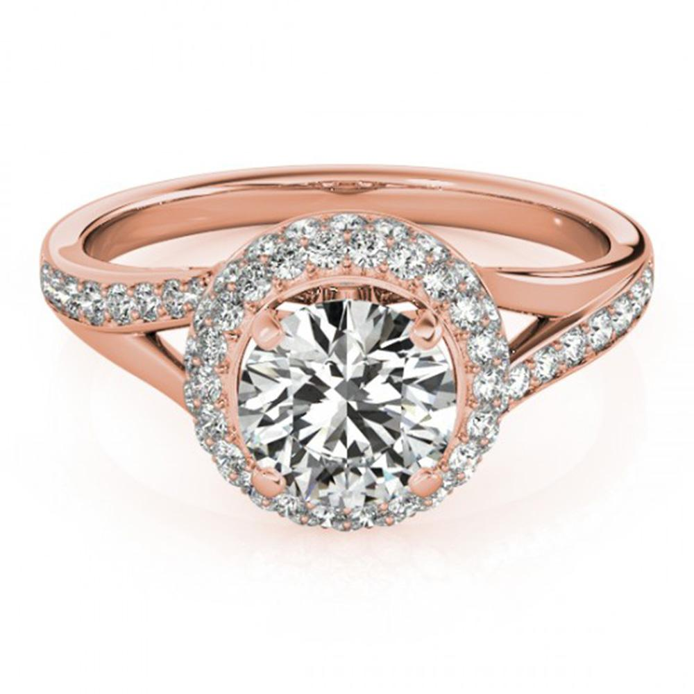 1.85 ctw Certified VS/SI Diamond Solitaire Halo Ring 14k Rose Gold - REF-372X8A
