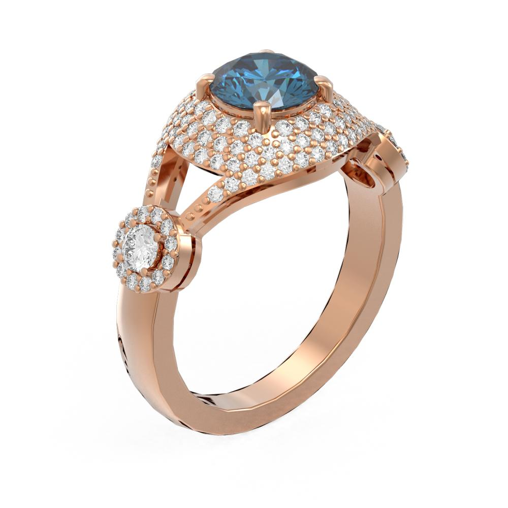 2.18 ctw Intense Blue Diamond Ring 18K Rose Gold - REF-286X2A