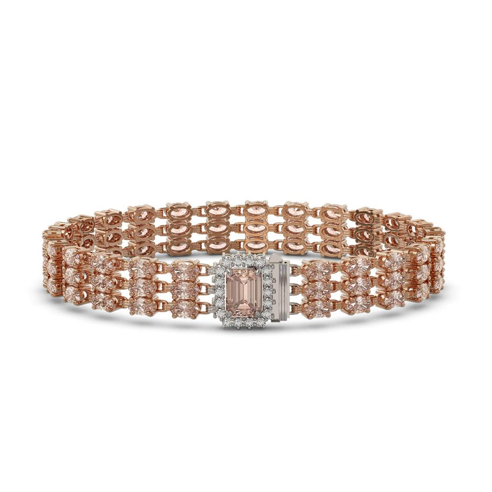 24.91 ctw Morganite & Diamond Bracelet 14K Rose Gold - REF-354N5F