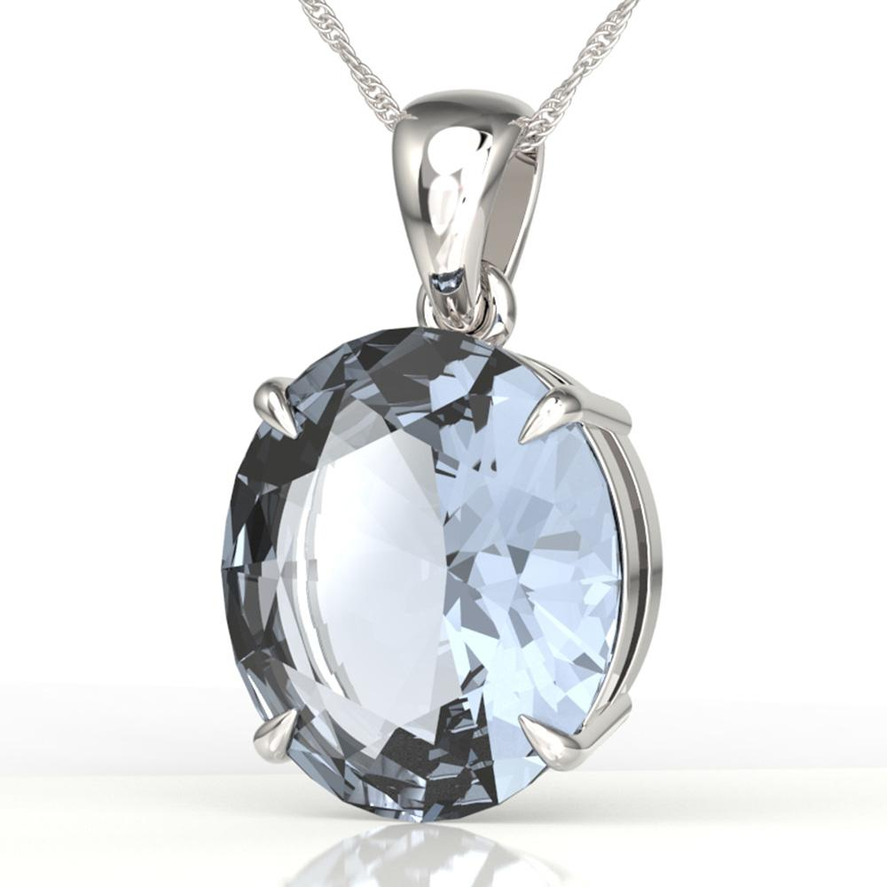 9 ctw Aquamarine Designer Solitaire Necklace 18k White Gold - REF-236N4F