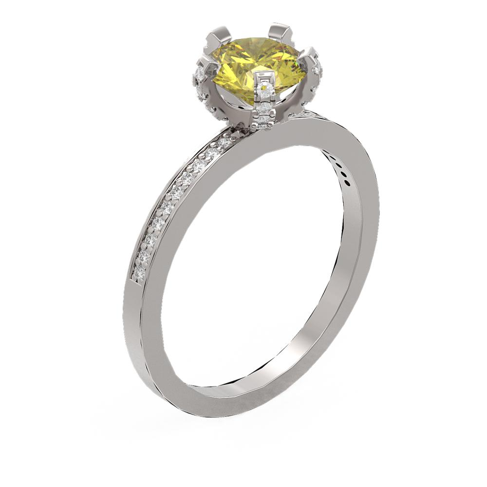 1.35 ctw Fancy Yellow Diamond Ring 18K White Gold - REF-294X5A