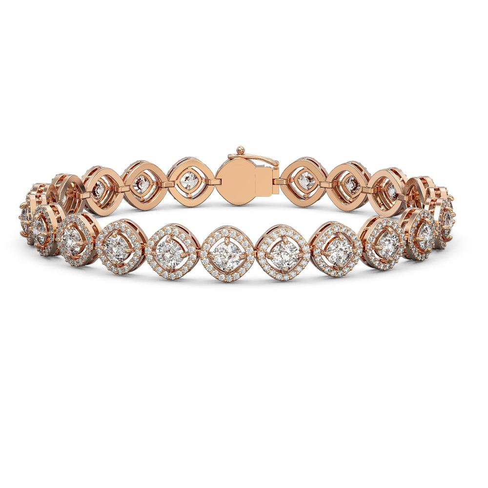 8.44 ctw Cushion Cut Diamond Micro Pave Bracelet 18K Rose Gold - REF-736N2F