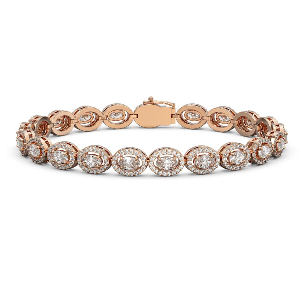 8.06 ctw Oval Cut Diamond Micro Pave Bracelet 18K Rose Gold - REF-699K3Y