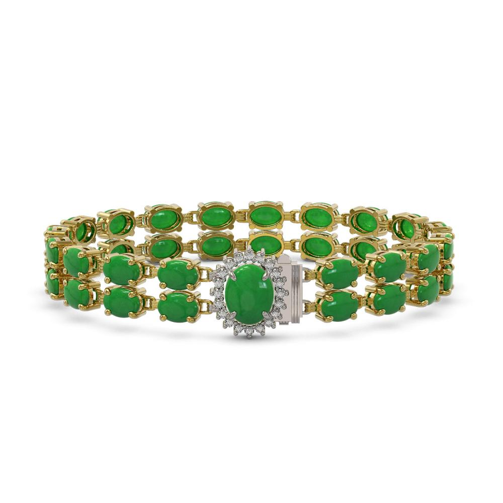 12.35 ctw Jade & Diamond Bracelet 14K Yellow Gold - REF-209Y3X