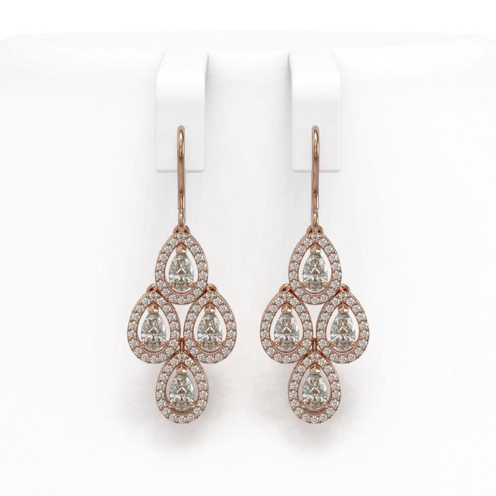 3.07 ctw Pear Cut Diamond Micro Pave Earrings 18K Rose Gold - REF-269W2H