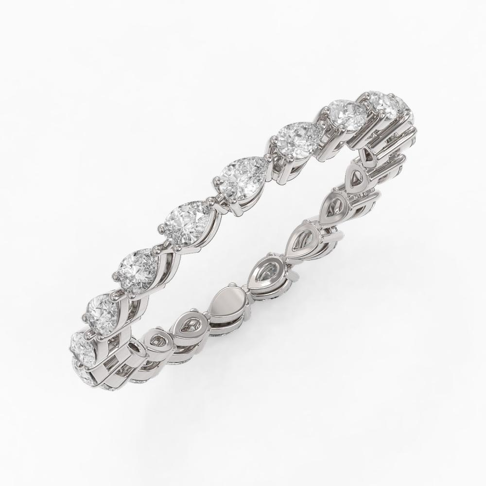 2.66 ctw Pear Cut Diamond Eternity Ring 18K White Gold - REF-275G3W