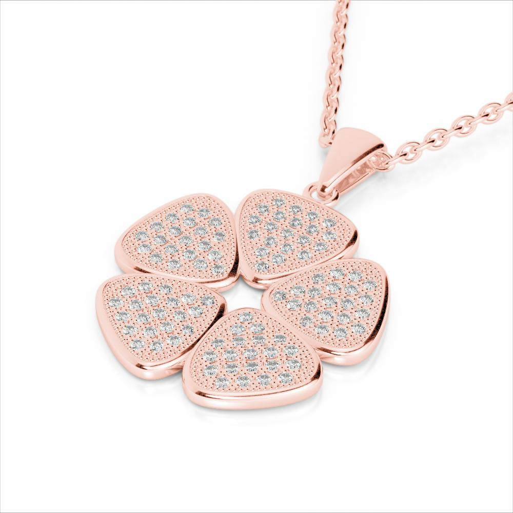 0.80 ctw Micro Pave VS/SI Diamond Designer Necklace 14k Rose Gold - REF-85R5K