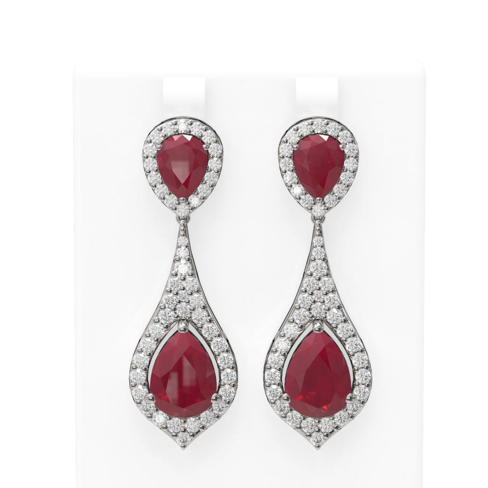 13.6 ctw Ruby & Diamond Earrings 18K White Gold - REF-343N6F