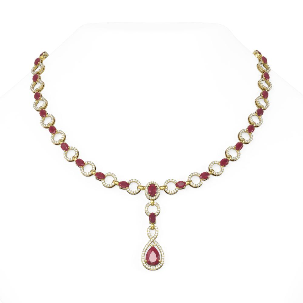 28.04 ctw Ruby & Diamond Necklace 18K Yellow Gold - REF-890R9K