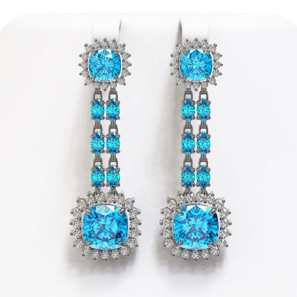 19.64 ctw Swiss Topaz & Diamond Earrings 14K White Gold - REF-232R9K