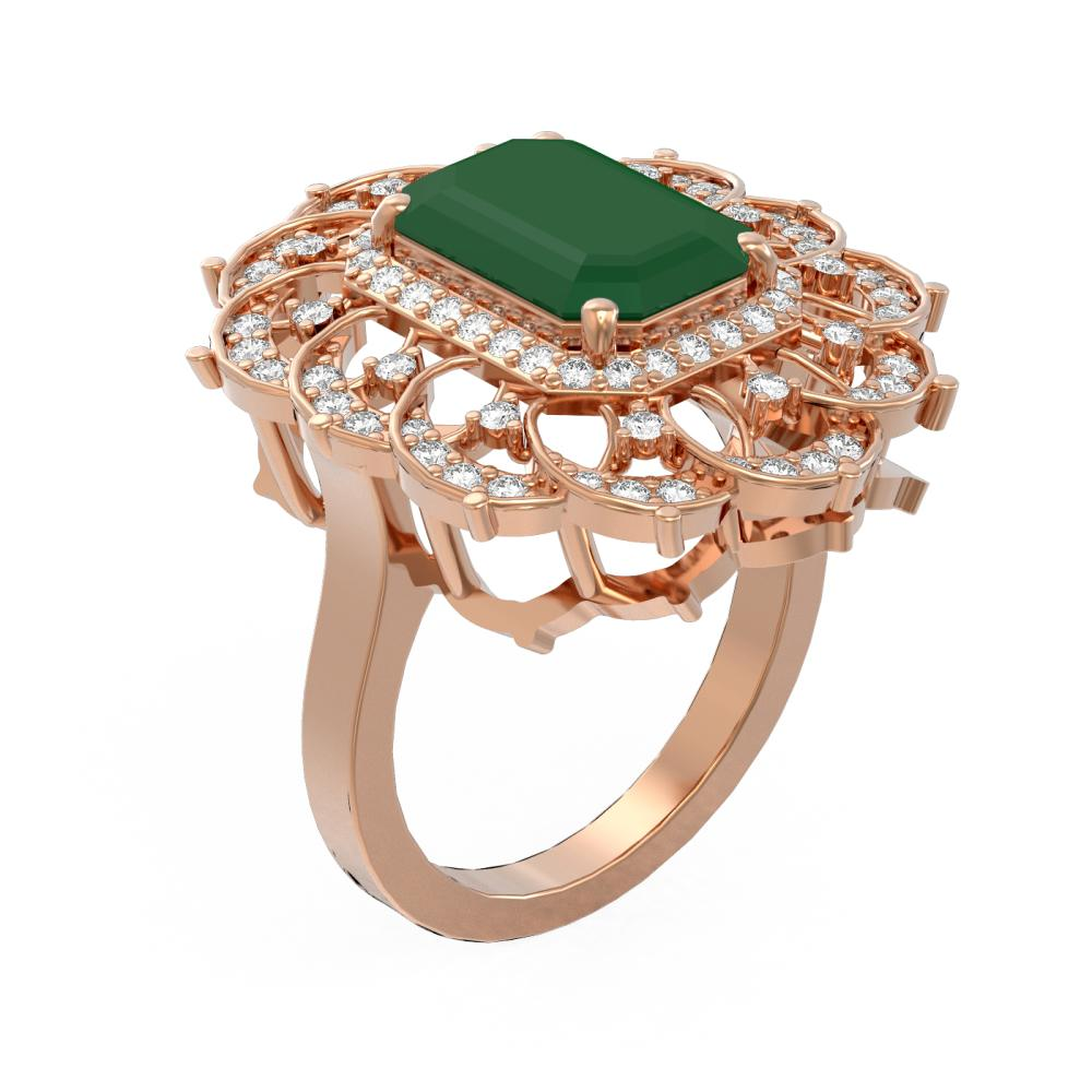 6.75 ctw Emerald & Diamond Ring 18K Rose Gold - REF-178H2R