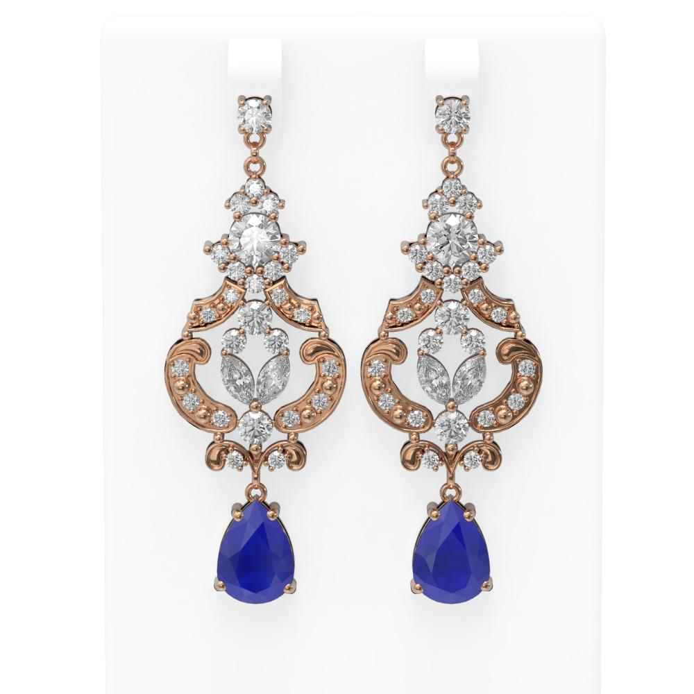 12.64 ctw Sapphire & Diamond Earrings 18K Rose Gold - REF-818R2K