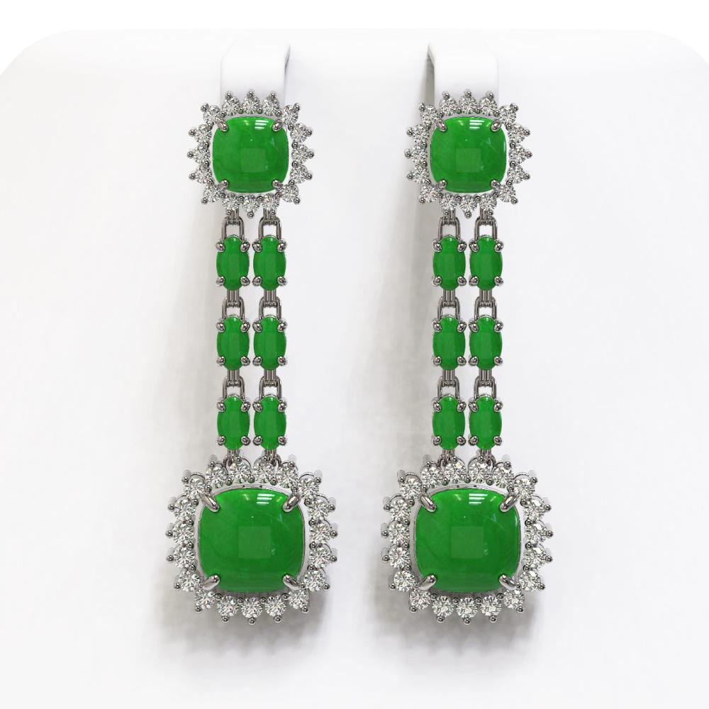 16.72 ctw Jade & Diamond Earrings 14K White Gold - REF-226F8M