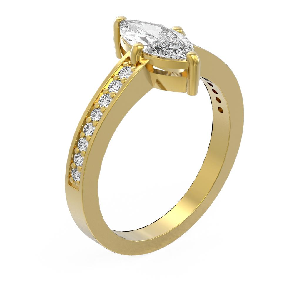 1.26 ctw Marquise Diamond Ring 18K Yellow Gold - REF-313X8A