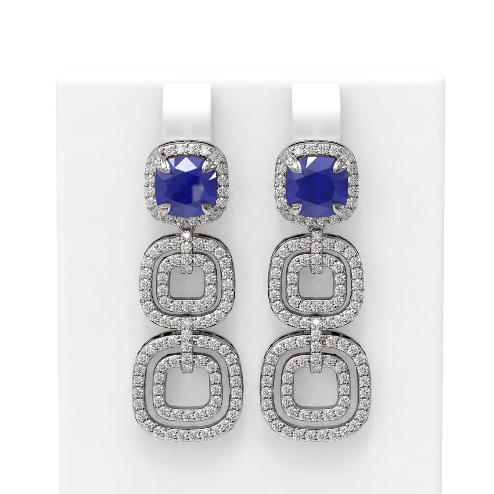 7.12 ctw Sapphire & Diamond Earrings 18K White Gold - REF-315R5K