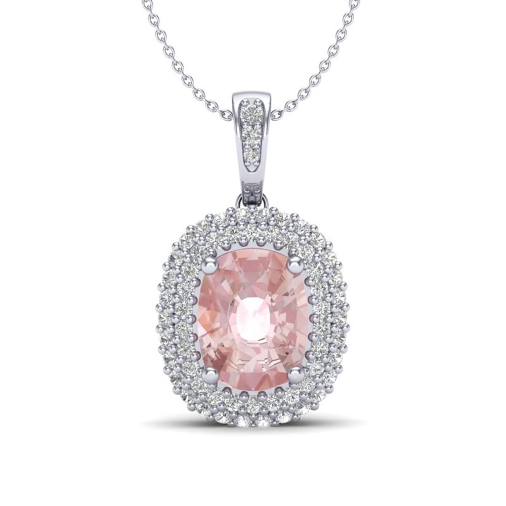 2.75 ctw Morganite & Micro Pave VS/SI Diamond Necklace 18k White Gold - REF-107N3F