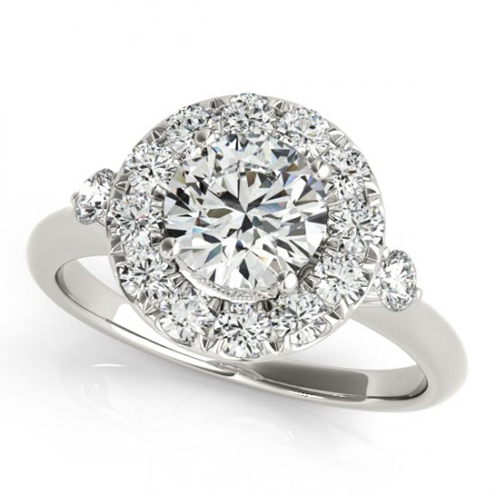 1.5 ctw Certified VS/SI Diamond Solitaire Halo Ring 14k White Gold - REF-284K6Y