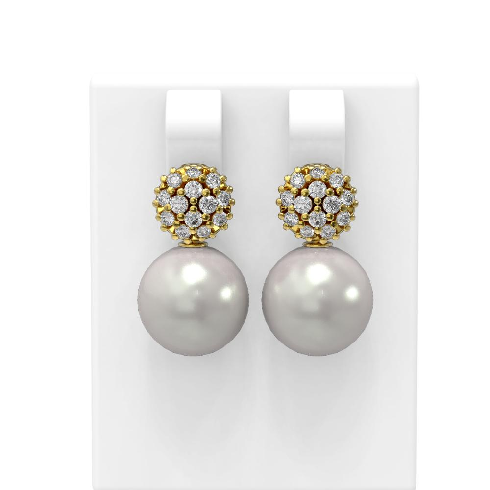 0.63 ctw Diamond & Pearl Earrings 18K Yellow Gold - REF-71M6G